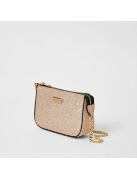Rose Gold Glitter Embellished Underarm Bag by River Island