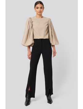 Split Front Seam Pants Deep Black by Na Kd Trend