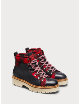 Olivine   Leather & Flannel Hiker Boots by Scotch&Soda