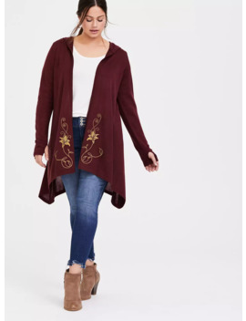 Disney Tangled Mother Gothel Embroidered Hooded Draped Front Cardigan by Torrid