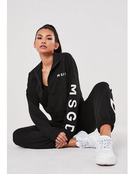 Active Black Msgd Zip Front Jacket by Missguided