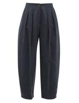Pleated Cropped Twill Trousers by See By Chloé