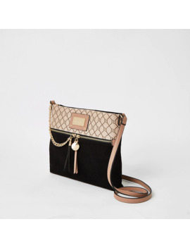 Black Ri Zip Front Cross Body Messenger Bag by River Island