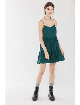 Uo Hanna Rayon Scallop Babydoll Mini Dress by Urban Outfitters