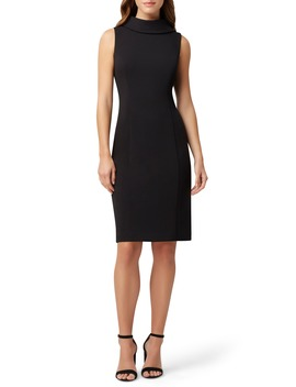 Wraparound Collar Stretch Crepe Sheath Dress by Tahari
