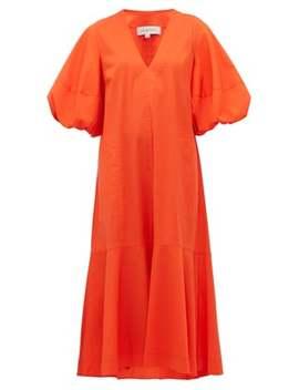 Ginger Puff Sleeve Cotton Blend Midi Dress by Lee Mathews