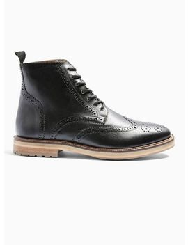 Black Real Leather Orbis Brogue Boots by Topman