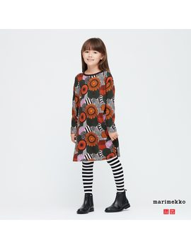 Girls Marimekko Long Sleeve Dress by Uniqlo