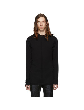 Black Knit Long Sleeve Hoodie by Rick Owens