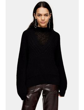 Black Cocoon Slouchy Insert Neck Sweater by Topshop