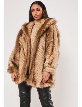 Tan Vintage Chevron Faux Fur Coat by Missguided