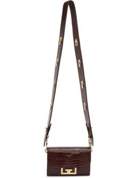 Burgundy Croc Nano Eden Belt Strap Pouch by Givenchy