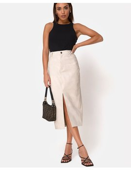 Pyra Midi Skirt In Pu Stone By Motel by Motel