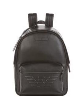 Men's Eagle Logo Leather Backpack   Black by Emporio Armani