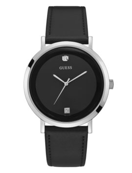 Silver Tone And Black Leather Watch by Guess