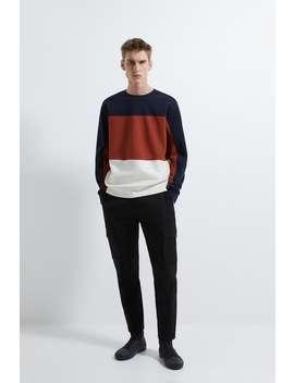 Textured Colour Block Sweatshirt by Zara
