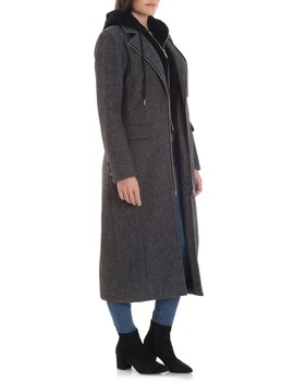Moto Wool Blend Coat With Removable Hooded Bib by Avec Les Filles