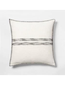 Oversize Square Woven Stripe Pillow Cream/Black   Threshold™ by Threshold