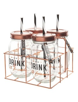 4 Mason Jars Box With Straw + Metal Support    Drink by Maisons Du Monde