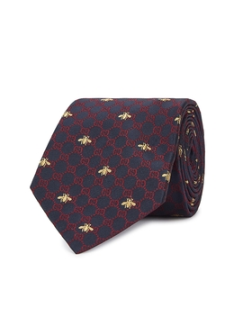 Gg Bees Monogrammed Silk Tie by Gucci
