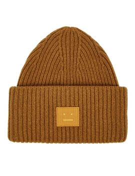 Pansy Brown Wool Beanie by Acne Studios