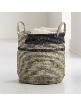 Jaylin Blue Grey Round Sisal Basket by Crate&Barrel