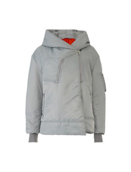 Bacon Women's Jacket Gray Us Size Medium M Fold Over Hooded Bomber $800  #548 by Bacon
