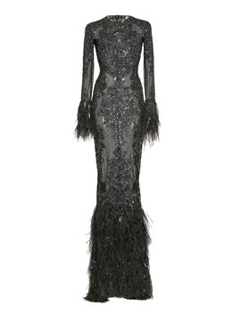 Beaded And Feather Trimmed Silk Gown by Zuhair Murad