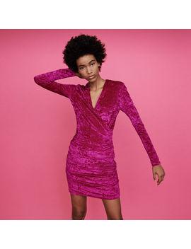 Crushed Velvet Draped Dress by Maje