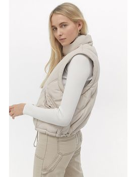 Uo Quilted Zip Off Sleeve Oversized Puffer Jacket by Urban Outfitters