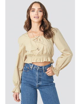 Cropped Frill Long Sleeve Top Beige by Na Kd Boho