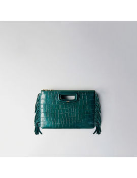 Crocodile Embossed Leather M Duo Clutch by Maje