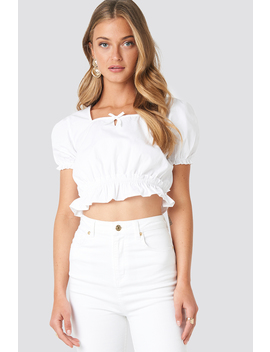Cropped Frill Short Sleeve Top Vit by Na Kd Boho