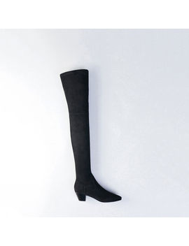 Stretch Velvet Goat Leather Thigh Boots by Maje