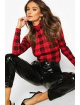 Check High Neck Long Sleeve Top Check High Neck Long Sleeve Top by Boohoo