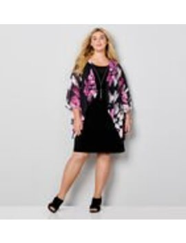 Flare Sleeve Floral Jacket Dress by Avenue