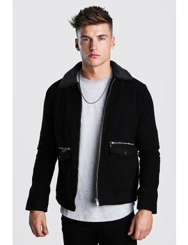 Wool Look Zip Through Bomber With Borg Collar by Boohoo