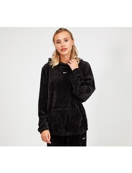 Womens Velour Mini Swoosh Hooded Top | Black by Nike