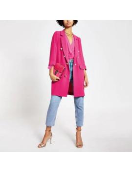 Pink Button Front Longline Blazer Jacket by River Island