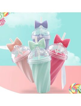 400 Ml Cute Portable Bow Cup With Straw Sport Plastic Fruit Juice Water Bottle Uk by Ebay Seller