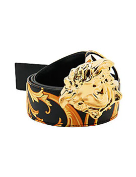 Heritage Baroque Print Reversible Belt With Medusa Buckle by Versace