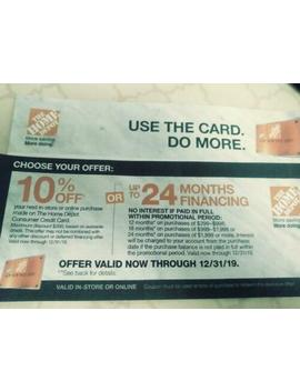 Home Depot Coupon 10% Off Online In Store With Hd Credit Card Exp 12/31/19 by Ebay Seller