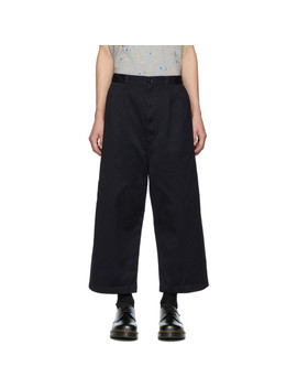 Navy Uneven Twill Trousers by Comme Des GarÇons Homme
