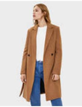 Μάλλινο παλτό με ζώνη by Bershka