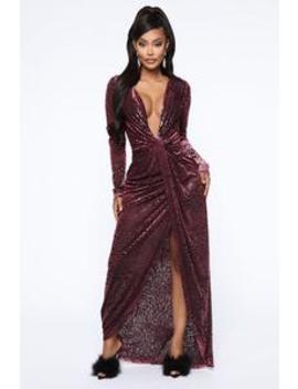 Poison Spice Velvet Maxi Dress   Wine by Fashion Nova