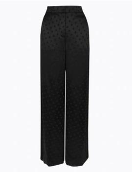 Jacquard Polka Dot Wide Leg Trousers by Marks & Spencer