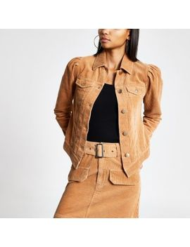 Brown Corduroy Puff Sleeve Fitted Jacket by River Island