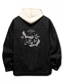Hot Sale Flying Crane Floral Letter Embroidery Scratch Jean Jacket   Black M by Zaful