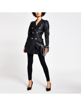 Black Faux Leather Puff Sleeve Belted Blazer by River Island