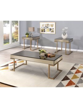 Acme Furniture Boice Smoky Mirror And Champagne Coffee Table by Acme Furniture